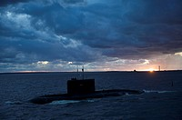 Russian submarine passing Kronstadt