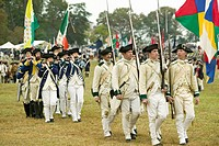 French Troops leave camp to Surrender Field at the 225th Anniversary of the Victory at Yorktown, a reenactment of the siege of Yorktown, where General...