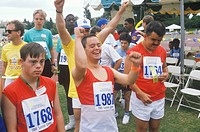 Handicapped Athletes cheering, Special Olympic games, UCLA, CA