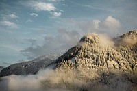 Snowy mountain scape in the Alps in western Austria.