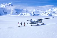 """Scout"" bush airplane on glacier in St. Elias National Park and Preserve, Wrangell Mountains, Wrangell, Alaska"
