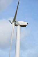 wind farm with wind powered turbines create green