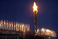 Olympic torch at night during the 2002 Winter Olympics, Salt Lake City, UT