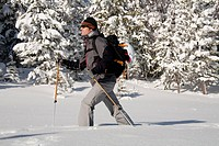 Man backcountry skiing