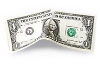 Torn USA Dollar bank note