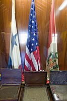 Hall of Flags, homage to La Rabida from all the nations of the Americas, at the 15th_century Franciscan Monasterio de Santa María de la Rábida, Palos ...