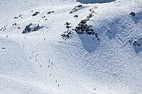 Skiiers and snowboarders, Whistler, BC, Canada