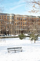 snowy park scene with row houses