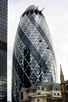 United Kingdom, London, The City, 30 St Mary Axe, Norman Foster's tower nicknamed The Gherkin