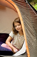 Girl camping, summer time, Montseny Natural Park, Barcelona, Catalonia, Spain