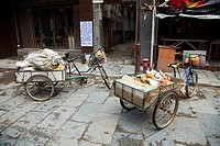 China, guangxi province, xingping, bicycles with carts