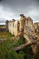 Ruins of an abandoned village in northern Spain