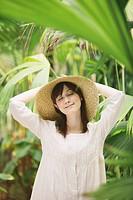 Japanese Woman In Botanical Garden