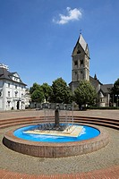 D-Bergisch Gladbach, Bergisches Land, North Rhine-Westphalia, Konrad Adenauer Square, brewhouse Am Bock, parish church Saint Laurentius, catholic chur...