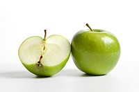 One and a half green Granny Smith apple