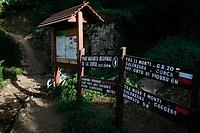GR20 hike startpoint in town Caladezza .