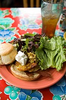 Sandwich, salad, and biscuit at the Flying Biscuit Cafe Midtown.