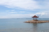 Gazebo at the beach of Sanur, Bali, Indonesia