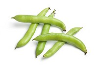 Broad beans in pod on white background