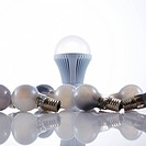LED light bulb and old incandescent light bulbs