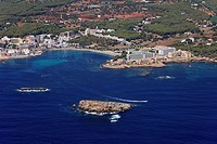 Es Canyar Es Cana, Des Cana island in front, Ibiza, Balearic Islands, Spain