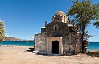 Agia Varvara byzantine church on the beach at Skoutari on the sunward, eastern, coast of the Deep Mani, Southern Peloponnese, Greece