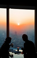 Skyline of Tokyo  As seen from Mori Tower Tokyo city view, in Roppongi Hills Cafe Visitors Tokyo city, Japan, Asia