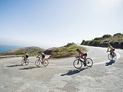Cyclists road riding in Malibu