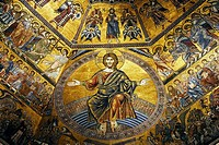 Painting on the ceiling of the Baptistry in Florence  Italy