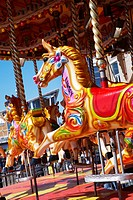 Carousel funfair ride at Cardiff bay, south Wales