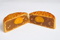 Chinese mooncake with egg yolk and nuts for mid-autumn or moon festival