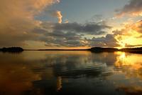 Sunset on Wigry lake in the Wigry National Park (Wigierski Park Narodowy). Suwalki region. Poland