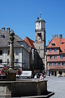 Fontain infront the Saint Martin Church in Memmingen
