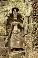 Relief of Khmer at Ta Prohm Temple in Angkor