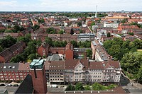 Germany, Kiel, Kiel Fjord, Baltic Sea, Schleswig-Holstein, panoramic view, ahead tower of the priory church Saint Nicholas, catholic church, behind re...