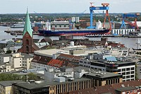 Germany, Kiel, Kiel Fjord, Baltic Sea, Schleswig-Holstein, panoramic view, Alter Markt with church Saint Nicolai, evangelic church, Kiel harbour, Howa...