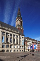 Germany, Kiel, Kiel Fjord, Baltic Sea, Schleswig-Holstein, city hall, city hall tower, campanile, brick building, Rathaus Square, flags