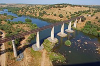 Serpa  Railway bridge over Guadiana River  Alentejo  Portugal  Europe
