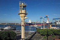 Germany, Kiel, Kiel Fjord, Baltic Sea, Schleswig-Holstein, Kiel harbour, Museum Bridge, maritime museum, lighthouse, ships, Howaldtswerke-Deutsche Wer...