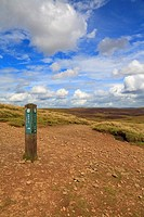 Junction of the Pennine Way and Snake Path, Kinder Scout, Peak District National Park, Derbyshire, England, UK