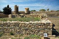 Ruins of building in fortification complex, Citadel of Roses, Girona province, Catalonia, Spain