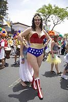 Wonder Woman imitator at annual Summer Solstice Celebration and Parade June 2007, since 1974, Santa Barbara, California