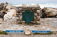 Stone marking the division between Indian and Atlantic oceans, Cape Agulhas, South Africa