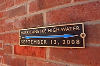 Hurricane Ike Marker - Galveston, Texas  A memorial wall plaque marking the high water line from Hurricane Ike at Ashton Villa
