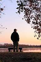 Hiker Watching the Sunset - George Bush Park, Harris County, Texas  Lake near the Noble Road Trail