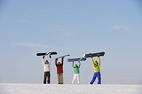 Snowboarders Dancing and Enjoying with Snowboards