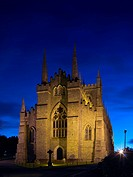 Downpatrick Cathedral lit up at night