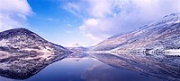 snow coverd mountains reflected in still water of a reservoir