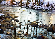 Baias river with snow in winter  Gorbea Natural Park  Alava, Basque Country, Spain, Europe