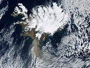 Eyjafjallajokull eruption. Satellite image of the ash plume grey, lower left from the April 2010 Eyjafjallajokull eruption. The whole of Iceland top i...